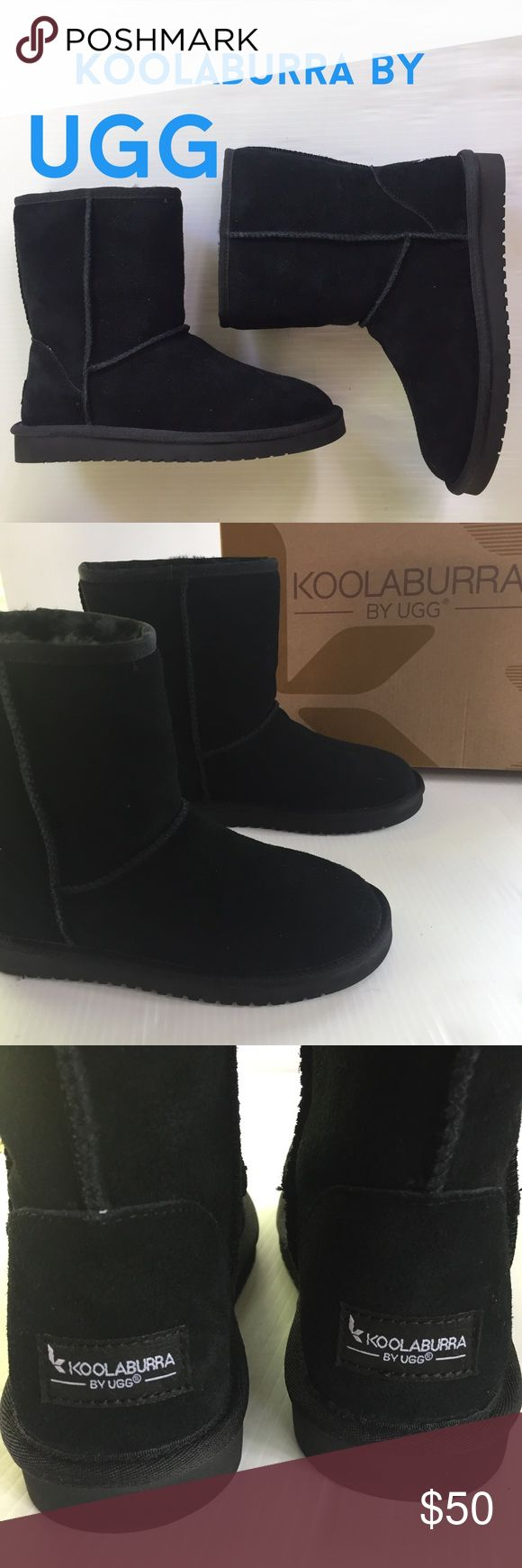 "NWT Koolaburra by UGG classic short boot black 6 Brand new in Original box, Koolaburra by UGG classic short boot in black, made by UGGS. Soft suede upper. Timeless icon! Lined in a combo of breathable lush Australian sheepskin & faux fur interior, cushioning thinsulate sockliner with lightweight durable molded EVA sole. 9"" high from floor to top of shaft. Perfect immaculate brand new. Ugg quality at a great price! Style 1017090, black with black fur inside.  Size 6. Retail $79.99.  (#482)…"