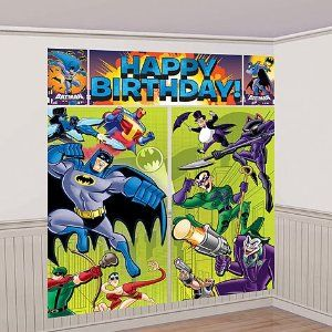 """Batman Scene Setter Wall Decorating Kit by Amscan. $9.99. Batman the brave and the bold. Set the scene for a cool party with Batman Scene Setters! Our Batman Scene Setters include a giant 5-piece set of lightweight vinyl decorations towering over 6ft tall when assembled. Featuring Batman and his pals about to battle The Joker and other villians, these Scene Setters display a bright blue """"HAPPY BIRTHDAY!"""" headline. Use these Scene Setters as a background for taking pictur..."""