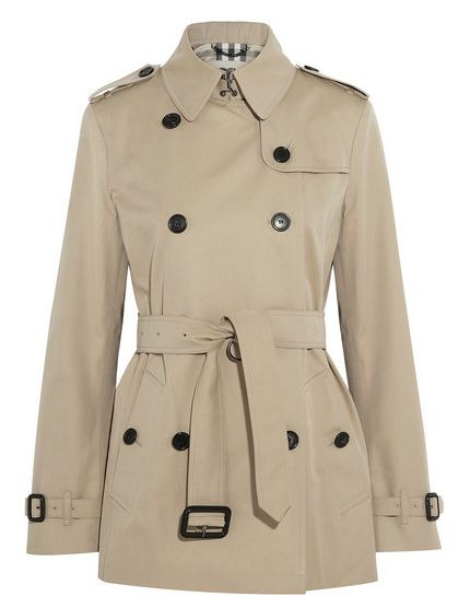 Short Cotton-Twill Trench Coat