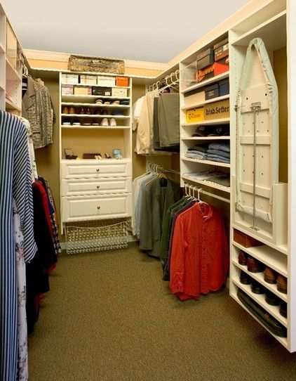 Layout tip: If your walk-in is less than 6½ feet wide, place hanging rods on one side and shelving and shoe racks on the other for good flow...