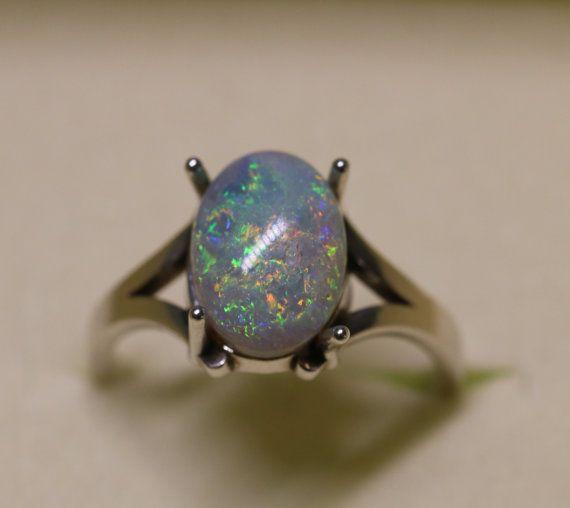 Genuine Opal Ring  Australian Lightning Ridge Black by OpalEmbers