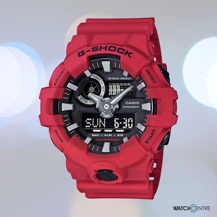 Multi-dimensional hour and minute hands look as if they were carved out of a piece of metal for a powerful and bold design. The new form of these watches not only improves reading it also projects a feeling of toughness. G-shock GA-700-4A #gshock