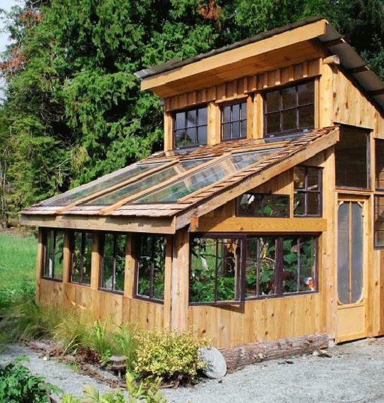 love this greenhouse - made from scrap lumber, wooden pallets, and discarded windows.  the tin top is new