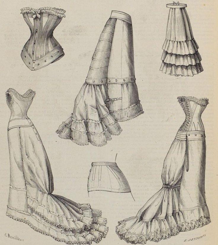 Le Moniteur De La Mode, 1876 (The French - always fashion-forward. Love the combination corset cover/petticoats.)