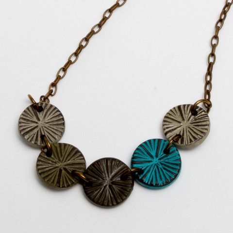 Adelina earth tone radial necklace handmade with love.