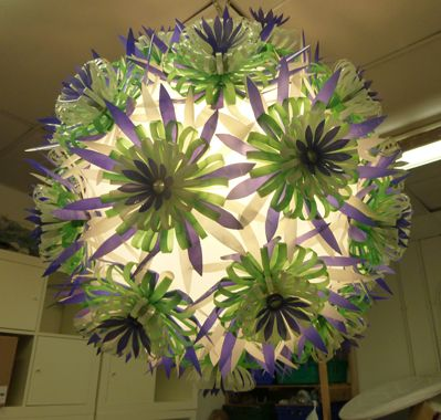 Sarah  Turner reused 155 waste plastic bottles to create a chandelier for the Glendoick Garden Centre Café.
