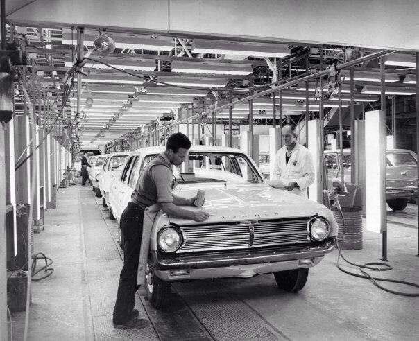 1965 Holden HD Special Sedan, G.M.H production line in Melbourne, Australia.  v@e.