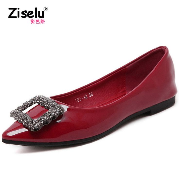 19.99$  Buy now - http://ali10y.shopchina.info/1/go.php?t=32812523522 - Ziselu New 2017 Pointed Toe Women Flats Patent Leather Rhinestone Women Flat Shoes Ladies Boat Shoes Summer Female SNE-007  #magazineonlinewebsite