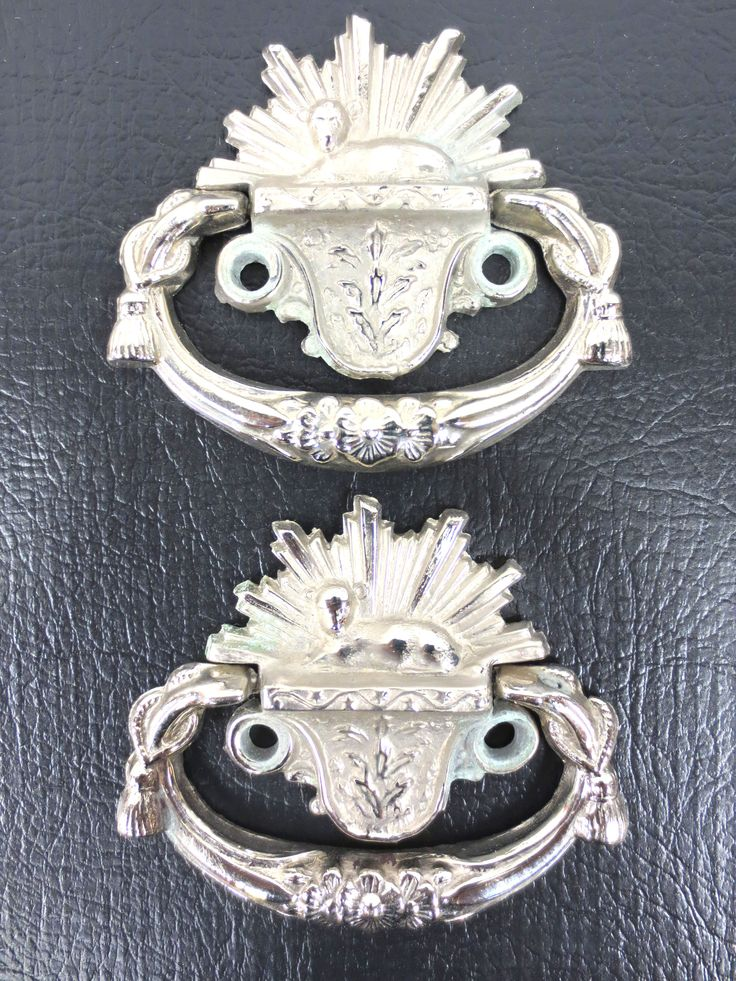 Vintage Nickel Plated Child Coffin Handles Pair, Small Funeral Casket, Lamb