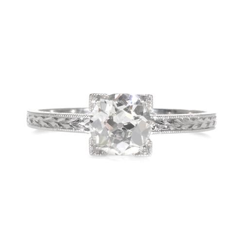 Greenwich Jewelers | Single Stone Square-Shaped Old European Cut Diamond Engagement Ring