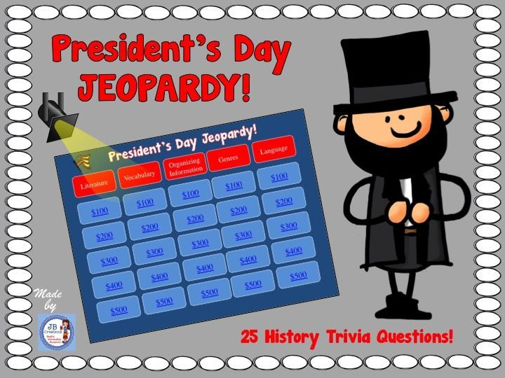 Test your knowledge in this engaging, interactive President's Day Jeopardy Game for intermediate grades!   https://www.teacherspayteachers.com/Product/Presidents-Day-Jeopardy-Game-for-Intermediate-Grades-3575504