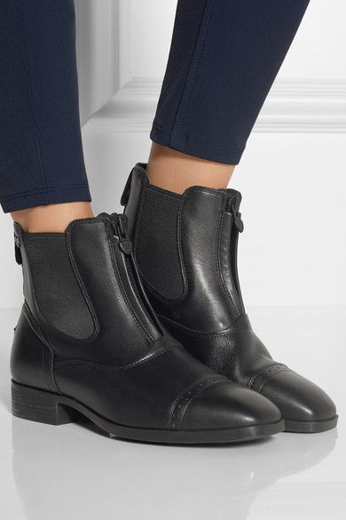 Heel measures approximately 30mm/ 1 inch Black leather Zip fastening along front