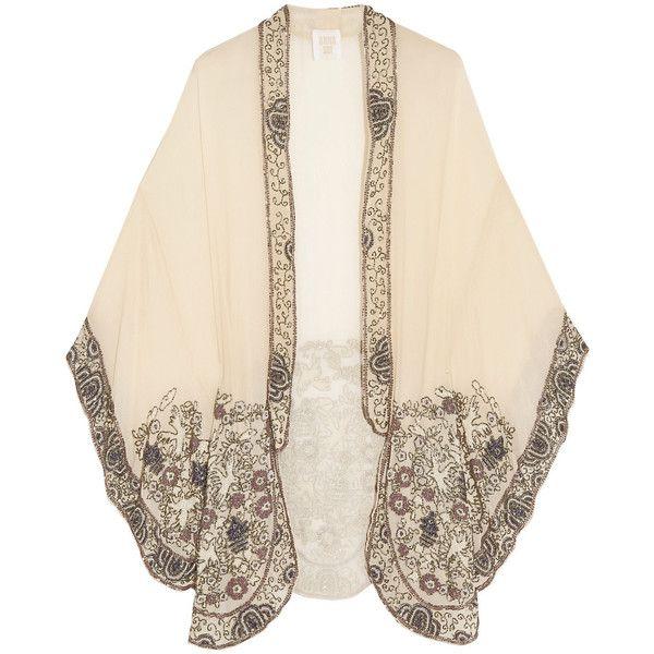Anna Sui Embellished crinkled silk-chiffon kimono jacket found on Polyvore featuring outerwear, jackets, tops, ivory, anna sui kimono, white winter jacket, beaded jacket, embellished jacket and anna sui jacket