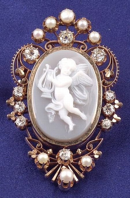 Antique 14kt Gold, Diamond, Pearl And Cameo Pendant/Brooch