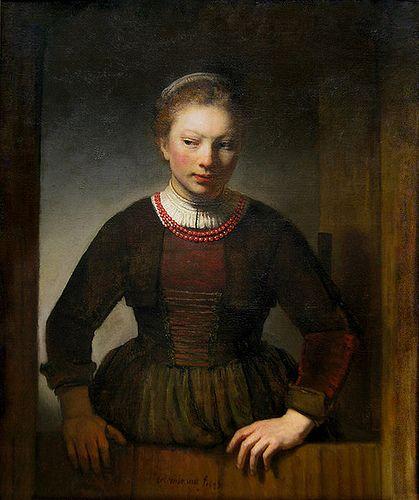 'Girl at an Open Half-Door'  --  1645  --  Rembrandt van Rijn  --  Dutch  --  Oil on canvas  --  Art Institute of Chicago
