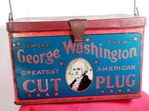 Antique-George-Washington-Patriotic-Smoke-Chew-Cut-Plug-Tobacco-TIN-Lunch-Box