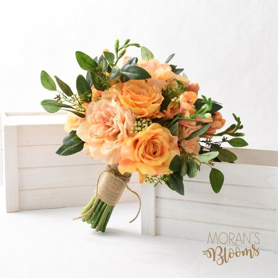 Boho Bouquet Silk Wedding Bouquet Bridal Bouquet Peach Roses