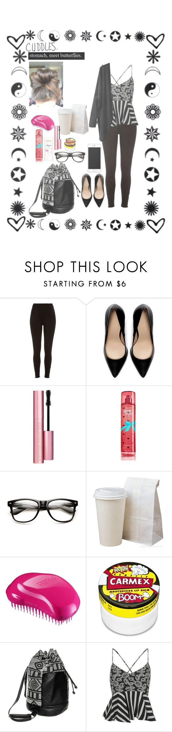 """""""untitled #49"""" by ummm-jasmine ❤ liked on Polyvore featuring River Island, Zara, Too Faced Cosmetics, Tangle Teezer, Carmex, Vans, Topshop, women's clothing, women and female"""