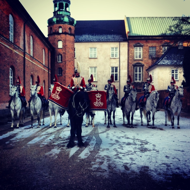 Danish Guard Hussars await the Queens arrival at the re-opening of the Danish Arsenal Museum. February 2013.