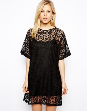 ASOS T-Shirt Dress In Lace