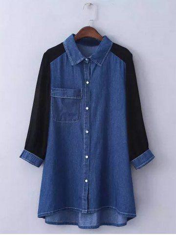 Plus Size Trendy en mousseline de soie à manches Chemise en jean