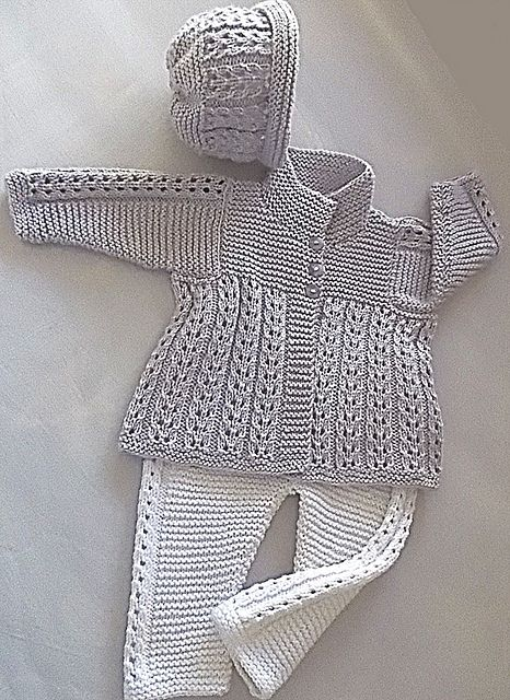 Quick knit baby jacket, pants and matching hat
