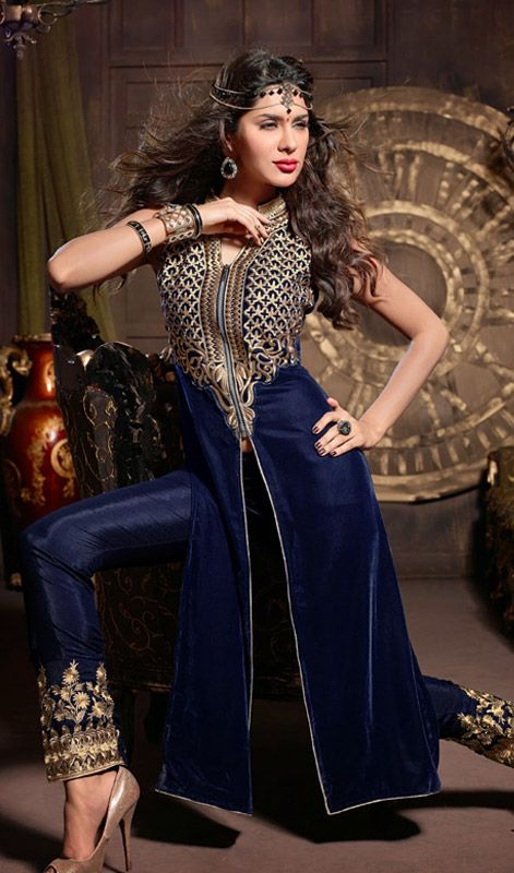 Royal Blue Velvet Embroidered Pant Style Suit Strut around like a diva, sporting this royal blue velvet embroidered pant style suit. This lovely attire is displaying some extraordinary embroidery done with butta, lace, resham and velvet patch work. #ExclusiveDesignerPantStyleSuits #SalwarKameezPantSuits