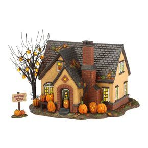 THE PUMPKIN HOUSE: Trick-Or-Treat Lane SeriesDimensions: 6.69in H x 7.87in W x 8.66in L Department 56#: 4030757Item Details2nd in the series, designed for Family Fun Halloween - It was inspired by images of pumpkin festivals with multitudes of carved jack-o-lanterns.  Ours are LED lit, but the home owners took it further over the top by adding lit jack-o-lantern lights to the bare branch tree in the yard. The stucco mid-century is at home in any neighborhood and painted a perfect shade of…