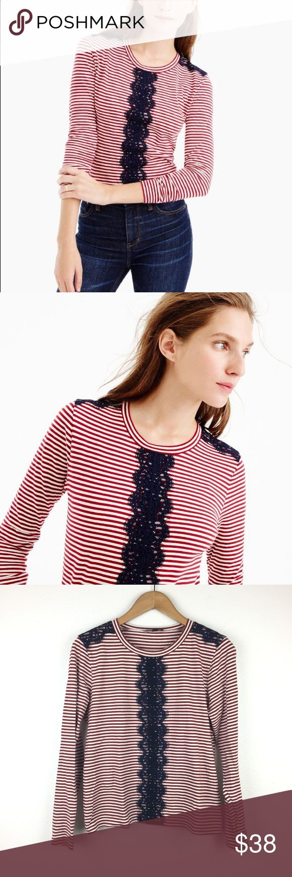 J.Crew Red Striped Blue Navy Long Sleeve Tee 80% cotton, 20% Linen. Dressy-Casual. Red and white striped long sleeve shirt with navy blue lace detailing. Round neckline. Slightly loose fit. Excellent condition. J. Crew Tops Tees - Long Sleeve