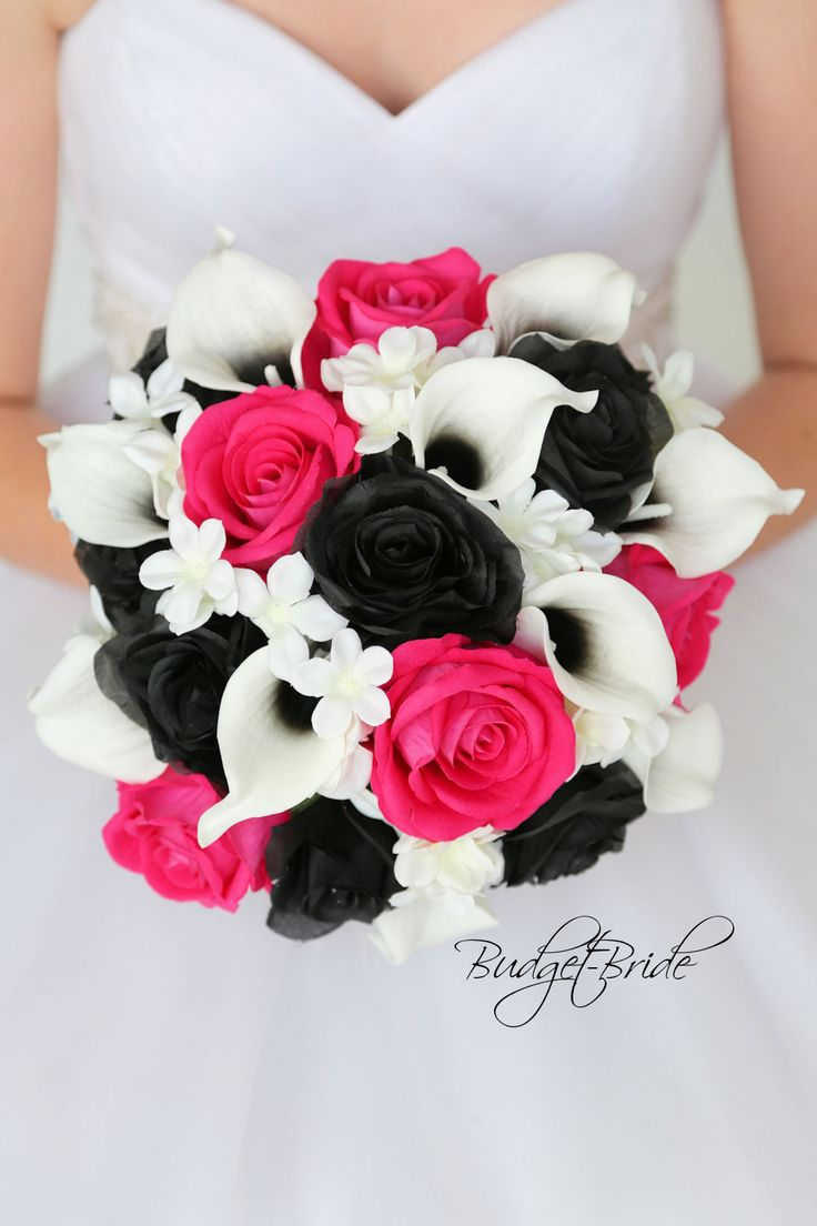 Begonia Davids Bridal Wedding Bouquet hot pink and black halo calla lilies real touch calla lily white stephanotis