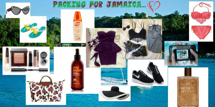 Here is a selection of things the ladies should carry on their trip to Jamaica ;-) The mosquito repellent and the sunscreen are a must to avoid looking like a red Noni (http://en.wikipedia.org/wiki/Morinda_citrifolia) which is used in jamaica to make juice, drank for its medicinal properties.