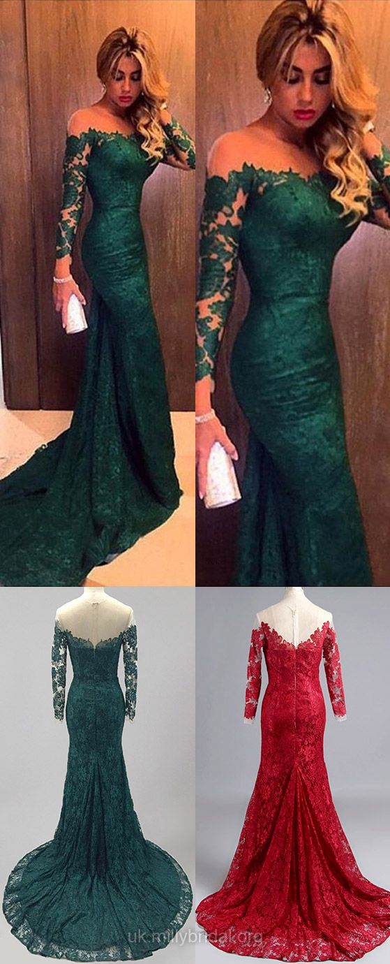 Scoop Neck Dark Green Lace Tulle Long Sleeve Trumpet ...