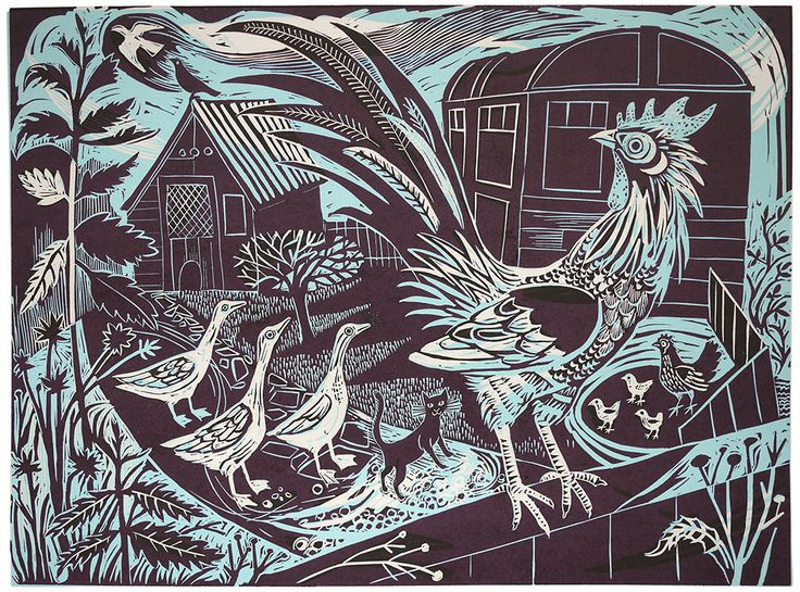 Rooster linocut by Mark Hearld   St. Jude's Prints