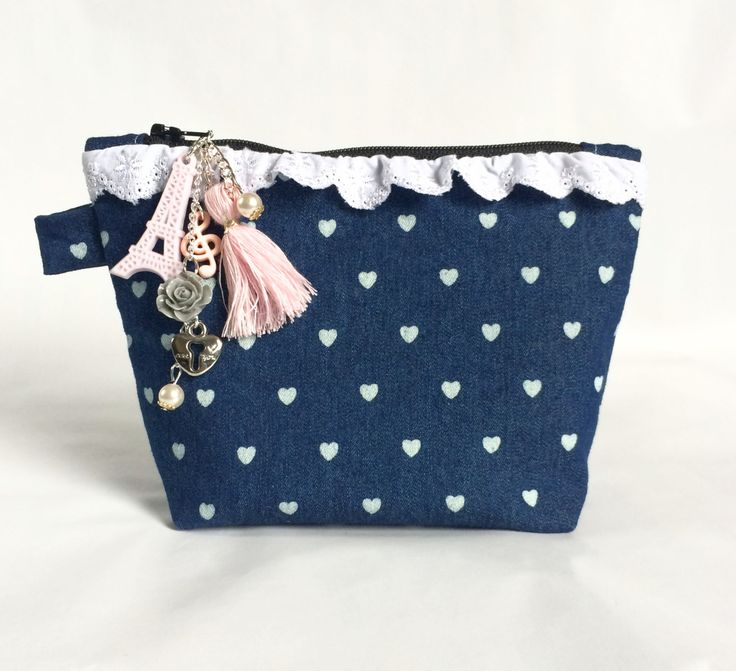 Denim Hearts Small Makeup Pouch; Charm Included by strawberriesncreamm on Etsy