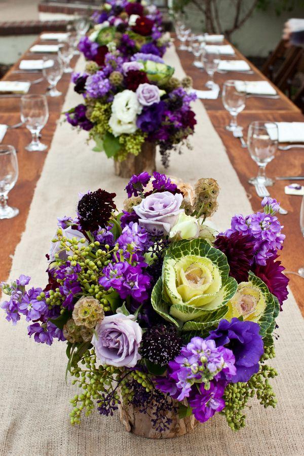 Aubergine cabbage burlap wedding reception centerpieces