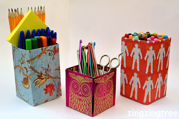 This Milk Carton Craft (tetra pack) Pen Pot Holder makes a great Teachers Gifts and can be used at home to hold all kinds of stationary and craft items.
