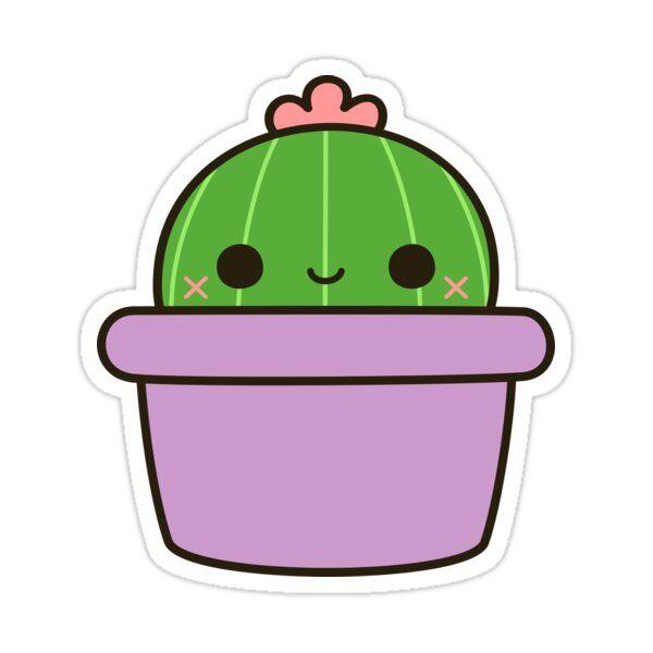 Cute Cactus In Purple Pot Sticker By Peppermintpopuk In 2021 Cute Kawaii Drawings Cactus Stickers Cute Stickers