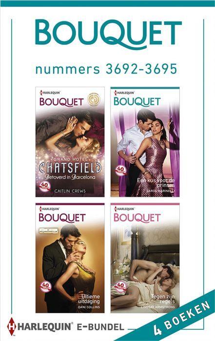 Bouquet e-bundel nummers 3692-3695 (4-in-1)  Kiest u voor gemak? Met deze bundel heeft u vier van de acht Bouquet-romans (nummers 3692 t/m 3695) van de maand in handen. Zo kunt u lekker doorlezen en nog gemakkelijker genieten van uw favoriete reeks! (1) BETOVERD IN BARCELONA - (Grand Hotel Chatsfield) Als Holly Theo Tsoukatos om een ontmoeting vraagt eist de Griekse magnaat dat deze plaatvindt in het Chatsfield in Barcelona - waar het allemaal begon... (2) EEN KUS VOOR DE PRINSES - Prinses…