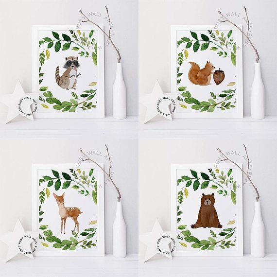 Animals Wall Art, Animals prints, Cartoons, racoon, squirrel, deer, bear, Funny, Nursery decor, Poster, wall art printables, forest animals, woodlands animals, design, illustration