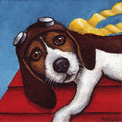 I am an Art For Critters supporting artist. Your pet portrait and animal art purchase will help provide care and shelter to animals in need! Thank you for your support! Look for A4C in listings.  This little guy is just getting the hang of flying, following in the footsteps of his forefathers as a flying Ace!      Title: Hang On!   Size: 8x8   Medium:  Professional Print on ultra premium matte paper      This painting was created for the Art House Group Exhibition showing through Sept. 4…