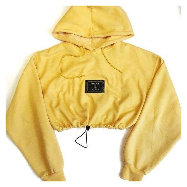 Reworked Versace Patch Crop Hoody ❤ liked on Polyvore featuring tops, hoodies, beige crop top, hoodie crop top, cropped hoodie, cut-out crop tops and versace top