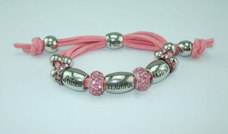 Whoza BEAUTIFUL Girl? Dark Pink Shamballa Bracelet.