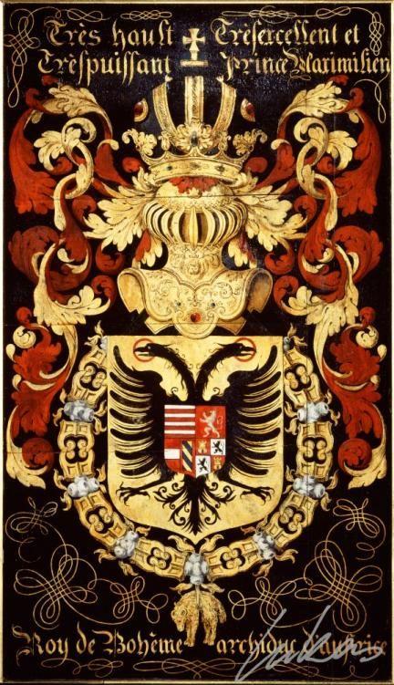 """(192) Maximilien II d'AUTRICHE, empereur des Romains (1527-1576) -- """"Très hault, trèsexcellent et trèspuissant prince Maximilien, roy de Bohême, archiduc d'Austrice""""-- Armorial plate from the Order of the Golden Fleece, 1559, Saint Bavo Cathedral, Gent"""