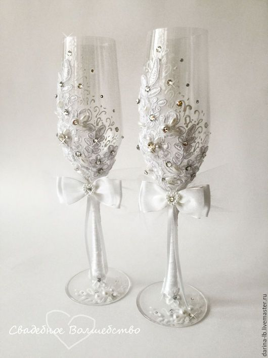 Lace wedding glasses