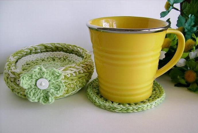 Cool Green #handmade #CustomCrochet Lime Green #Coaster Set with Bowl #zibbet