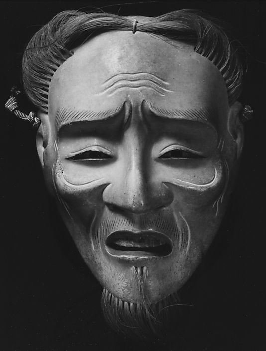 Noh Mask: Kojo (Old Man). Edo period, 19th century, Japan. Wood with pigments and hair. MMoA, 25.60.38