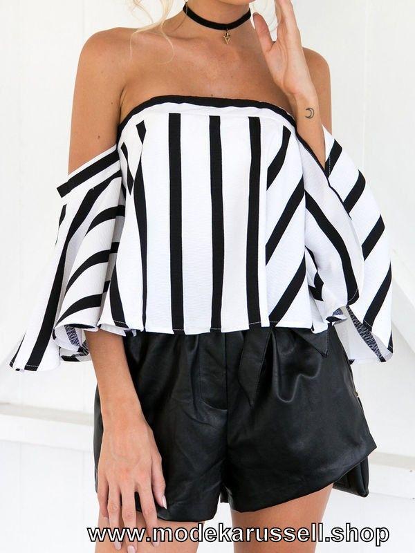 Schulterfreie Damen Bluse in Schwarz Weiß Gestreift