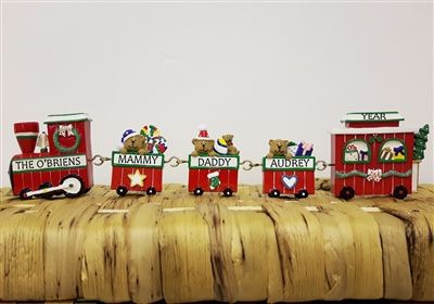 Personalised Christmas Linking Train Decoration. A beautiful gift for a family at Christmas. Extra carriages can be bought separately and easily added to the train as your family grows! WowWee.ie | €33.00 (extra carriages: €5 each)