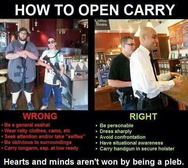 """The """"wrong"""" way may get you attention, but it will also get you eye rolls and people thinking you are an idiot. The """"right"""" way will still get you attention, but it will also get you respect. Maybe not from whiney #liberal #GunControl brats, but no one cares about their opinion anyway. #Gun #Firearms #OpenCarry"""