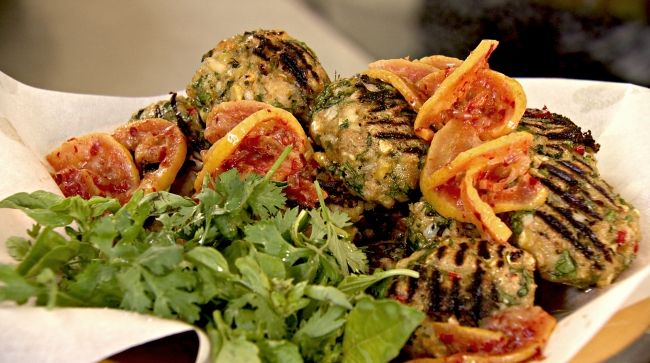 Ottolenghi - Recipes - Chicken meatballs with preserved lemon and harissa relish